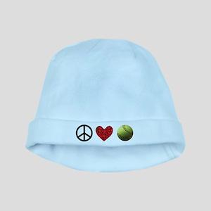 Peace Love Softball Baby Hat