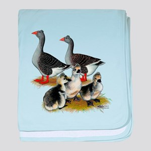 Toulouse Tufted Goose Family baby blanket