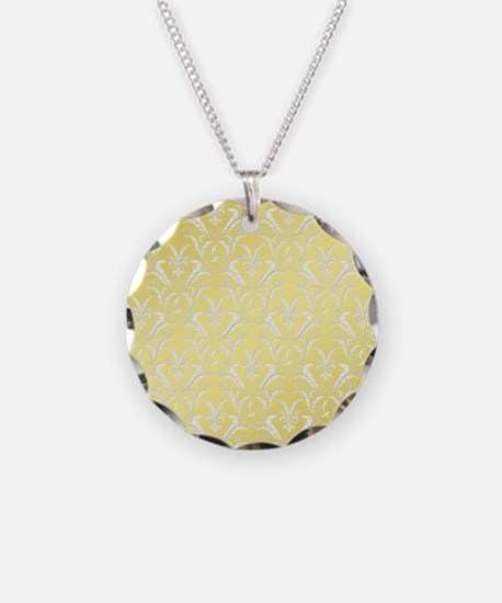 Pretty Faux Gold Leafy Damask Pattern Necklace