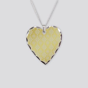 Pretty Faux Gold Diamond Damask Necklace