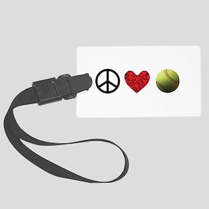 Peace Love Softball Large Luggage Tag