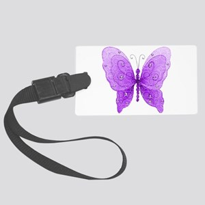 Pretty Purple Glitter Butterfly Luggage Tag