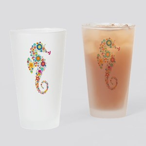 Cute Colorful Retro Floral Sea Hors Drinking Glass
