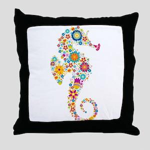 Cute Colorful Retro Floral Sea Horse Throw Pillow