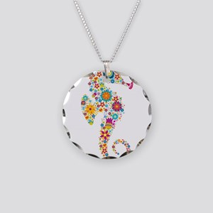Cute Colorful Retro Floral S Necklace Circle Charm