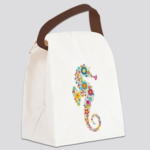 Cute Colorful Retro Floral Sea Ho Canvas Lunch Bag