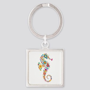 Cute Colorful Retro Floral Sea Horse Keychains