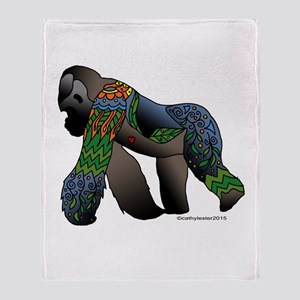 Zentangle Gorilla Throw Blanket