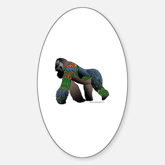 Zentangle Gorilla Sticker (Oval)