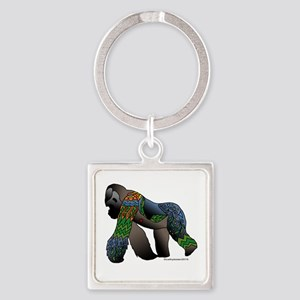 Zentangle Gorilla Square Keychain