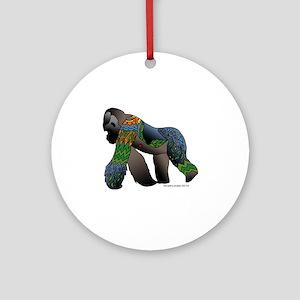 Zentangle Gorilla Round Ornament