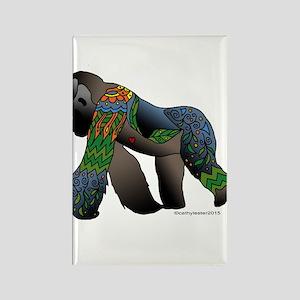 Zentangle Gorilla Rectangle Magnet