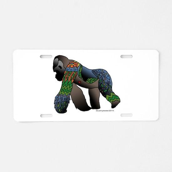 Zentangle Gorilla Aluminum License Plate