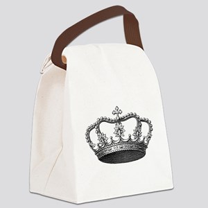 Silver Vintage Crown Canvas Lunch Bag