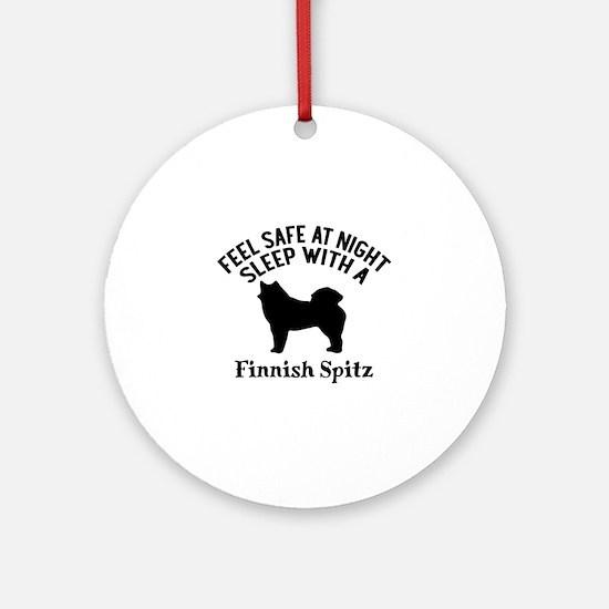 Sleep With Finnish Spitz Dog Design Round Ornament