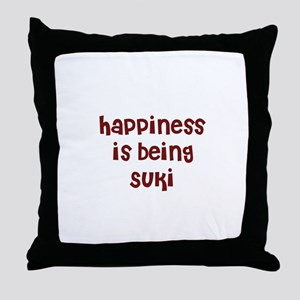 happiness is being Suki Throw Pillow