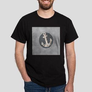 grey nautical stripes anchor T-Shirt