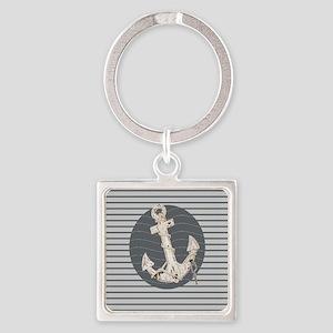 grey nautical stripes anchor Keychains