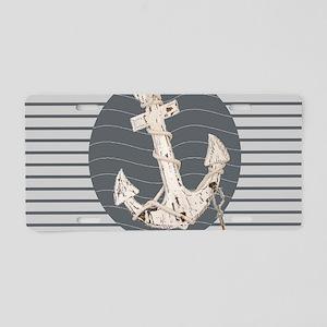 grey nautical stripes ancho Aluminum License Plate