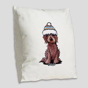Winter Chocolate Burlap Throw Pillow