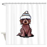 Chocolate labradoodle Shower Curtains