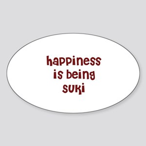 happiness is being Suki Oval Sticker