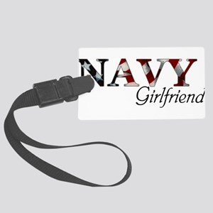 Girlfriend Navy_flag  Large Luggage Tag