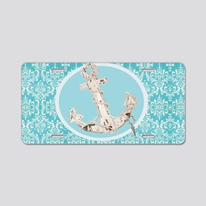 turquoise damask nautical a Aluminum License Plate