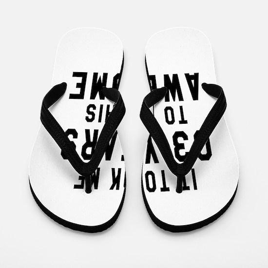 03 Years Birthday Designs Flip Flops