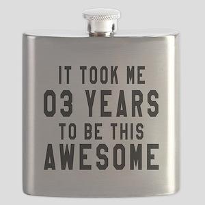 03 Years Birthday Designs Flask