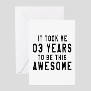 03 Years Birthday Designs Greeting Card