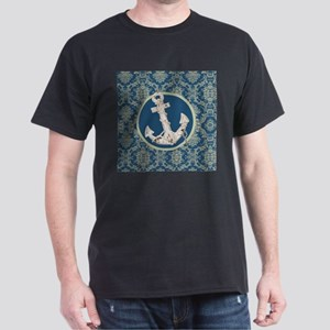 navy blue damask anchor T-Shirt