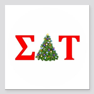 Sigma Delta Tau Christmas Tree Square Car Magnet 3