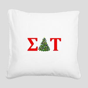 Sigma Delta Tau Christmas Tree Square Canvas Pillo