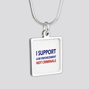 I support law enforcement Silver Square Necklace