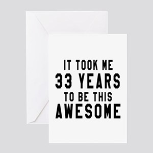 33 Years Birthday Designs Greeting Card