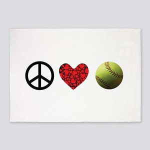 Peace Love Softball 5'x7'Area Rug