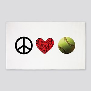 Peace Love Softball Area Rug