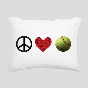 Peace Love Softball Rectangular Canvas Pillow