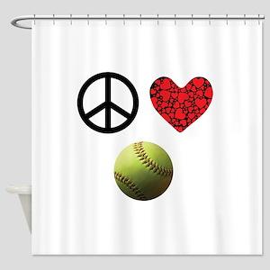 Peace Love Softball Shower Curtain