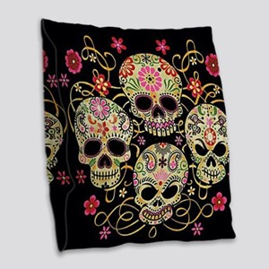 Sugar Skulls III Burlap Throw Pillow