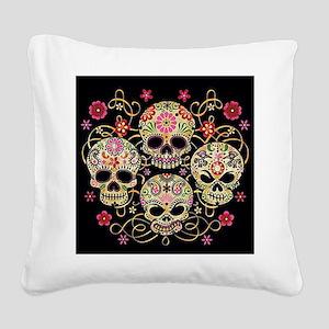 Sugar Skulls III Square Canvas Pillow