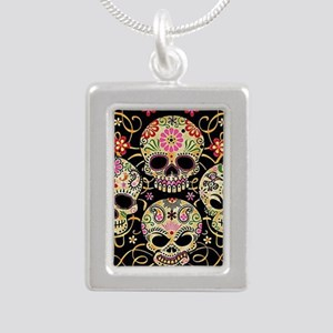 Sugar Skulls III Silver Portrait Necklace