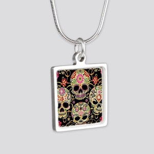Sugar Skulls III Silver Square Necklace