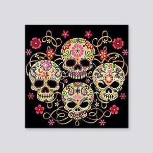 "Sugar Skulls III Square Sticker 3"" x 3"""
