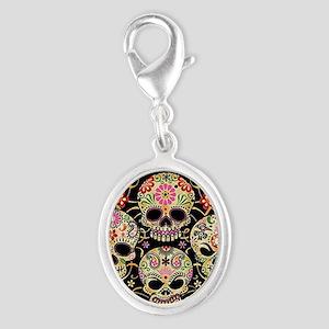 Sugar Skulls III Silver Oval Charm