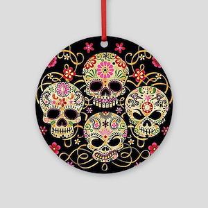 Sugar Skulls III Round Ornament