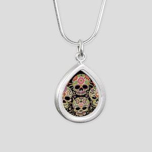Sugar Skulls III Silver Teardrop Necklace