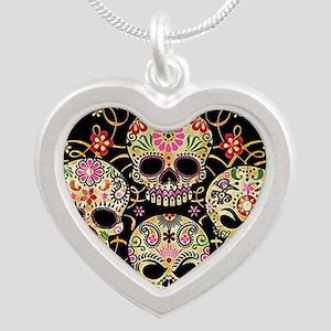 Sugar Skulls III Silver Heart Necklace