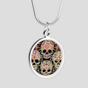 Sugar Skulls III Silver Round Necklace